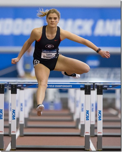 Louisa Grauvogel of the University of Georgia runs the 60 meter hurdles as the Pentathlon begins during the NCAA Indoor Track and Field Championships at Gilliam Indoor Track Stadium on the campus of Texas A&M University in College Station, Louisiana on Friday, March 10, 2017. (AP Photo/Lake Charles American Press, Kirk Meche)